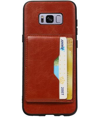 Bruin Staand Back Cover 2 Pasjes Hoesje voor Galaxy S8 Plus