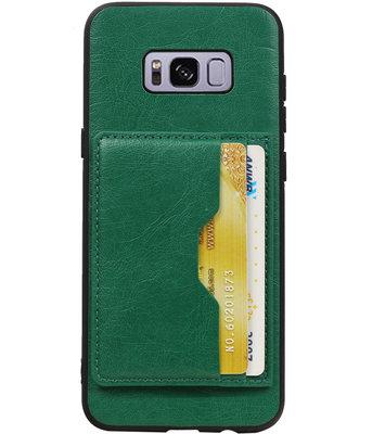 Groen Staand Back Cover 2 Pasjes Hoesje voor Galaxy S8 Plus