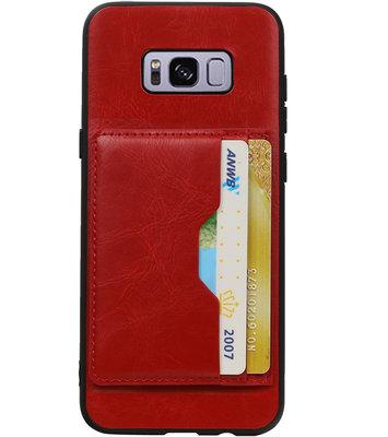 Rood Staand Back Cover 2 Pasjes Hoesje voor Galaxy S8 Plus