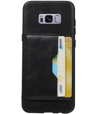 Zwart Staand Back Cover 2 Pasjes Hoesje voor Galaxy S8 Plus