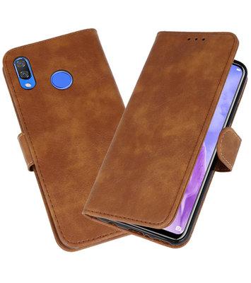 Bruin Bookstyle Wallet Cases Hoesje voor Huawei Nova 3