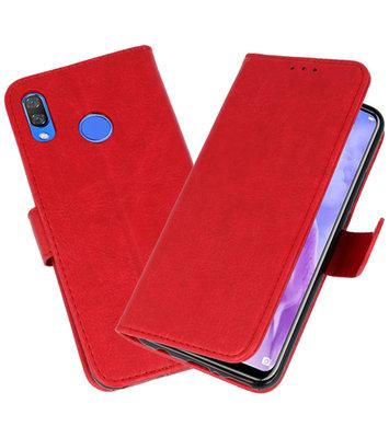 Rood Bookstyle Wallet Cases Hoesje voor Huawei Nova 3