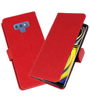 Rood Bookstyle Wallet Cases Hoesje voor Samsung Galaxy Note 9