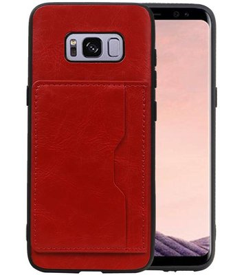 Staand Back Cover 1 Pasjes Galaxy S8 Rood