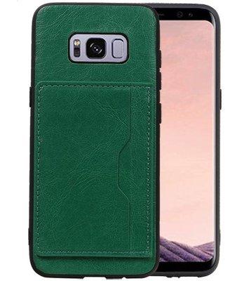 Staand Back Cover 1 Pasjes Galaxy S8 Groen