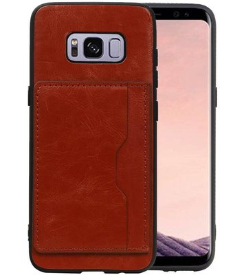 Staand Back Cover 1 Pasjes Galaxy S8 Bruin
