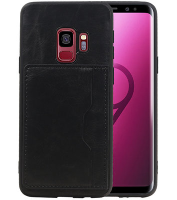 Zwart Staand Back Cover 1 Pasje Hoesje voor Samsung Galaxy S9