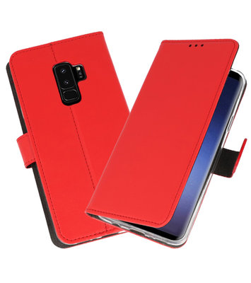 Rood Wallet Cases Hoesje voor Samsung Galaxy S9 Plus