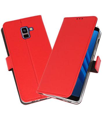 Rood Wallet Cases Hoesje voor Samsung Galaxy A8 Plus 2018