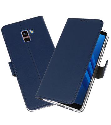 Navy Wallet Cases Hoesje voor Samsung Galaxy A8 Plus 2018