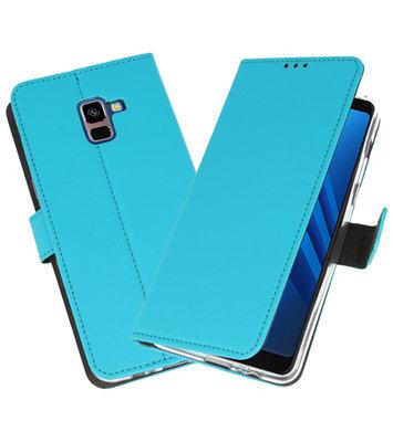 Blauw Wallet Cases Hoesje voor Samsung Galaxy A8 Plus 2018