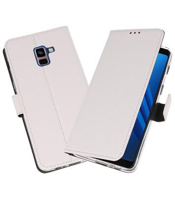 Wit Wallet Cases Hoesje voor Samsung Galaxy A8 Plus 2018