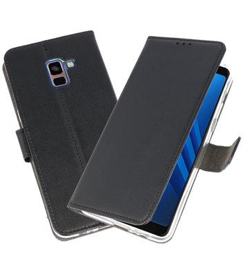 Zwart Wallet Cases Hoesje voor Samsung Galaxy A8 Plus 2018
