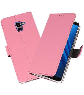 Roze Wallet Cases Hoesje voor Samsung Galaxy A8 Plus 2018