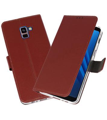 Bruin Wallet Cases Hoesje voor Samsung Galaxy A8 Plus 2018