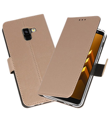 Goud Wallet Cases Hoesje voor Samsung Galaxy A8 2018