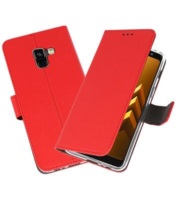 Rood Wallet Cases Hoesje voor Samsung Galaxy A8 2018