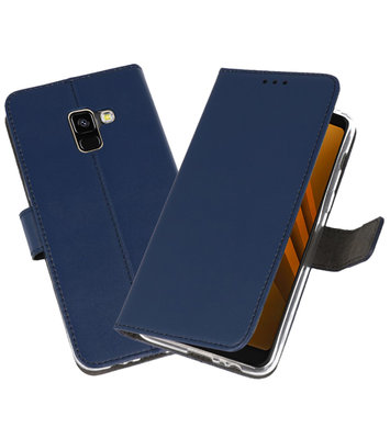 Navy Wallet Cases Hoesje voor Samsung Galaxy A8 2018
