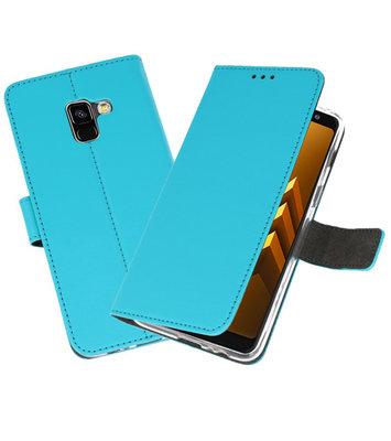 Blauw Wallet Cases Hoesje voor Samsung Galaxy A8 2018