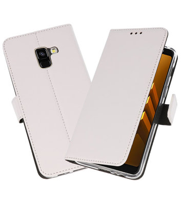 Wit Wallet Cases Hoesje voor Samsung Galaxy A8 2018