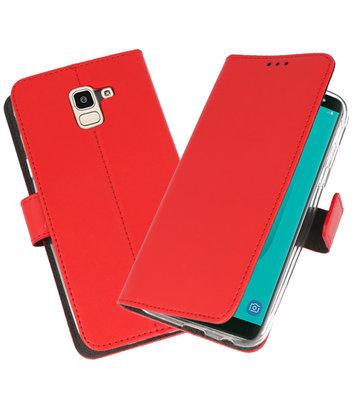 Rood Wallet Cases Hoesje voor Samsung Galaxy J6 2018