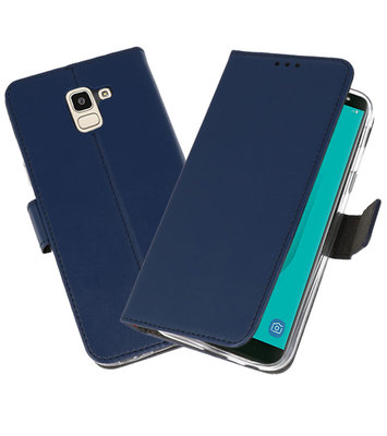 Navy Wallet Cases Hoesje voor Samsung Galaxy J6 2018