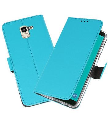 Blauw Wallet Cases Hoesje voor Samsung Galaxy J6 2018
