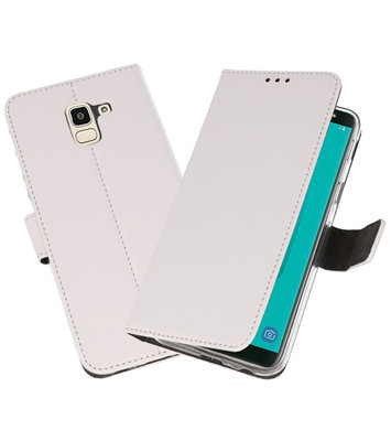 Wit Wallet Cases Hoesje voor Samsung Galaxy J6 2018
