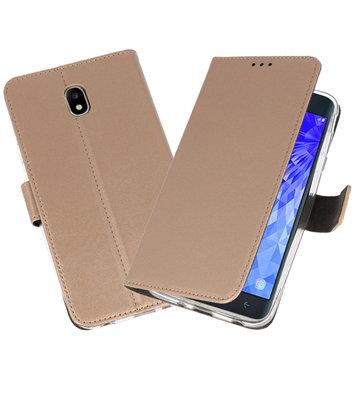 Goud Wallet Cases Hoesje voor Samsung Galaxy J7 2018