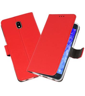 Rood Wallet Cases Hoesje voor Samsung Galaxy J7 2018