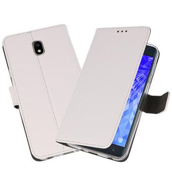 Wit Wallet Cases Hoesje voor Samsung Galaxy J7 2018