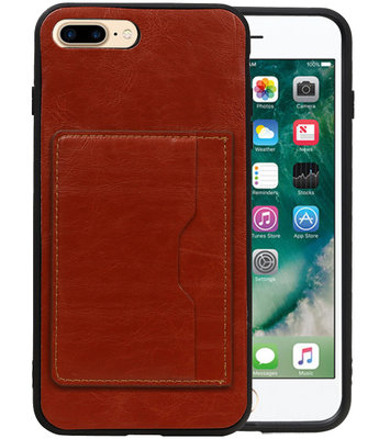 Bruin Staand Back Cover 1 Pasje Hoesje voor iPhone 8 Plus