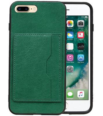 Groen Staand Back Cover 1 Pasje Hoesje voor iPhone 8 Plus