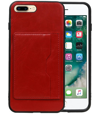 Rood Staand Back Cover 1 Pasje Hoesje voor iPhone 8 Plus