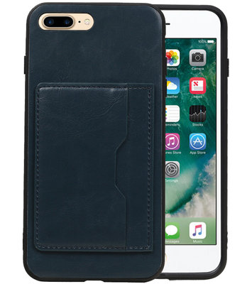 Navy Staand Back Cover 1 Pasje Hoesje voor iPhone 8 Plus