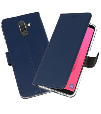 Navy Wallet Cases Hoesje voor Samsung Galaxy J8