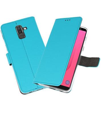 Blauw Wallet Cases Hoesje voor Samsung Galaxy J8