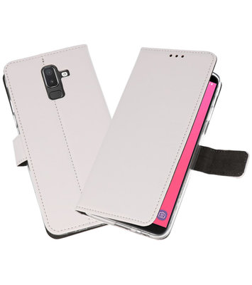 Wit Wallet Cases Hoesje voor Samsung Galaxy J8