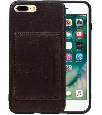 Mocca Staand Back Cover 1 Pasje Hoesje voor iPhone 8 Plus