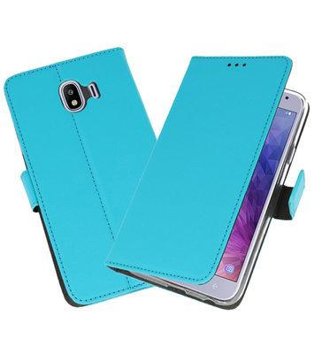 Blauw Wallet Cases Hoesje voor Samsung Galaxy J4 2018