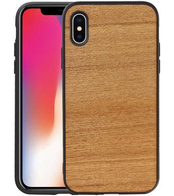 Hout Design Hardcase Hoesje voor iPhone X/ XS Horizontaal 2