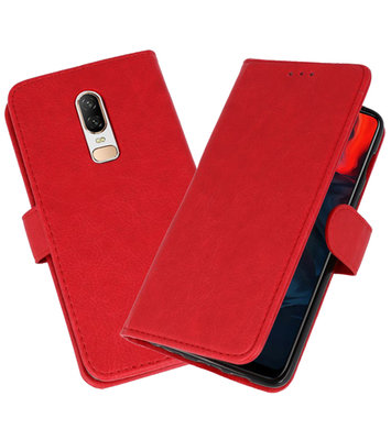 Rood Bookstyle Wallet Cases Hoesje voor OnePlus 6