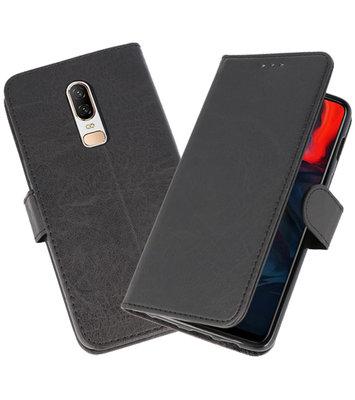 Zwart Bookstyle Wallet Cases Hoesje voor OnePlus 6