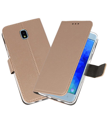 Goud Wallet Cases Hoesje voor Samsung Galaxy J3 2018