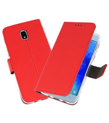 Rood Wallet Cases Hoesje voor Samsung Galaxy J3 2018