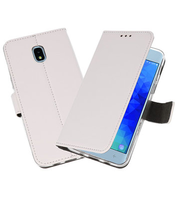 Wit Wallet Cases Hoesje voor Samsung Galaxy J3 2018