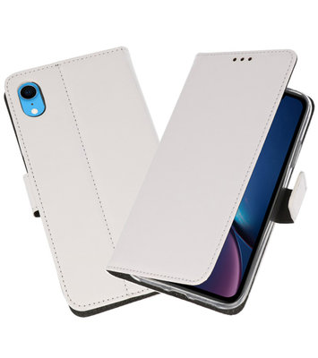 Wit Wallet Cases Hoesje voor iPhone XR