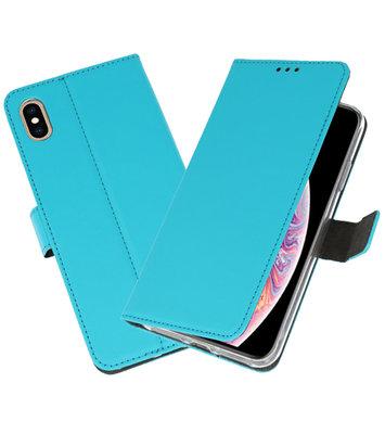 Blauw Wallet Cases Hoesje voor iPhone XS Max