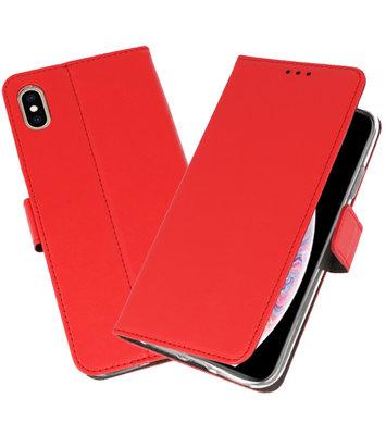 Rood Wallet Cases Hoesje voor iPhone XS Max