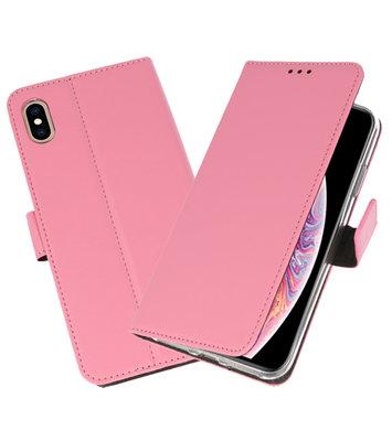 Roze Wallet Cases Hoesje voor iPhone XS Max